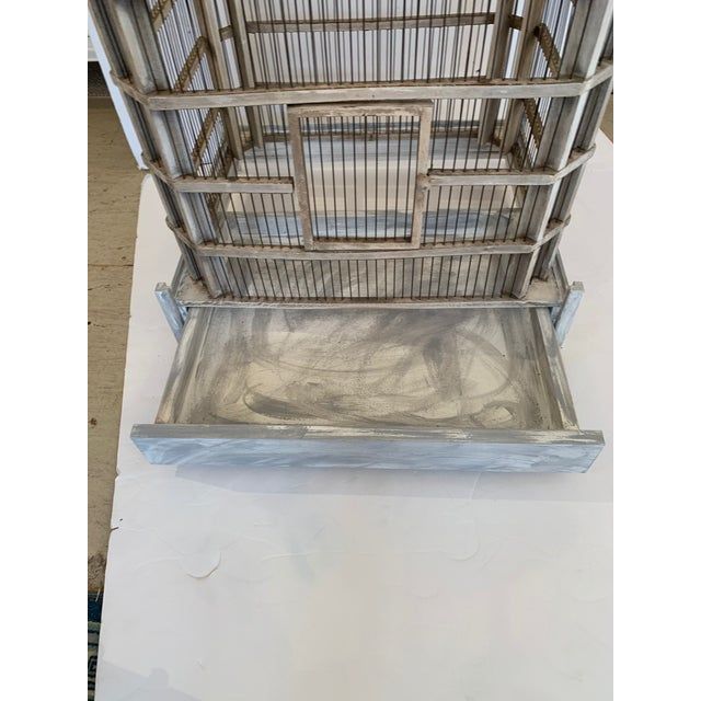 Large Painted Grey Wood & Wire Birdcage For Sale - Image 10 of 12
