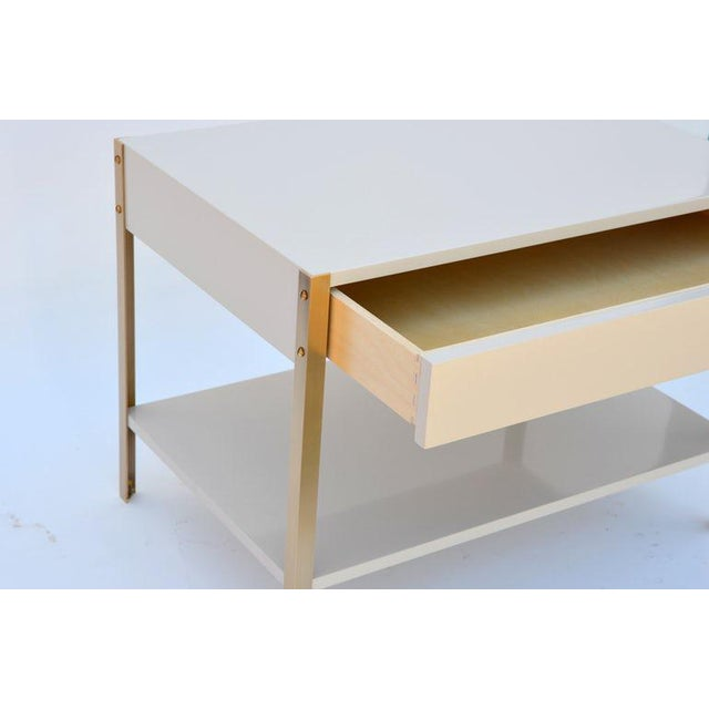 Modern The 'Laque' Ivory Lacquer and Brass Night Stand For Sale - Image 3 of 6