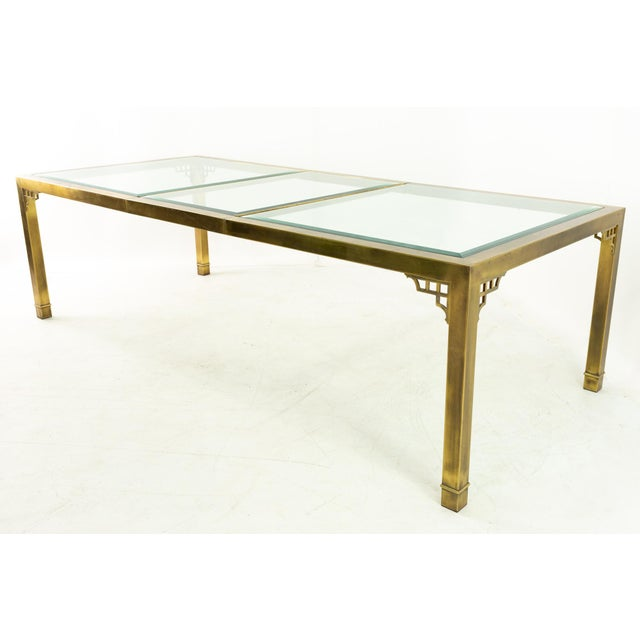 Mastercraft Mid Century Solid Brass and Glass Expanding Dining Table For Sale - Image 12 of 13