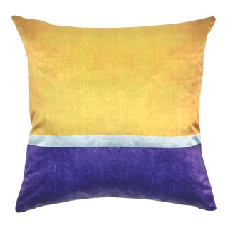 Color Block Mustard Aubergine Pillow For Sale