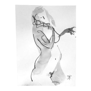 One Minute Pose Nude 118.1 Contemporary Painting by Gretchen Kelly For Sale