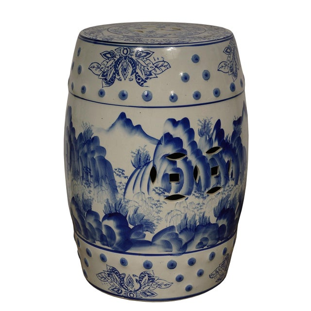 Look at this gorgeous vintage Chinese ceramic garden stool. It is all hand made and hand paint famous Chinese Blue and...