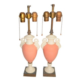 1930's Lenox Porcelain Table Lamps - a Pair - Double Sockets