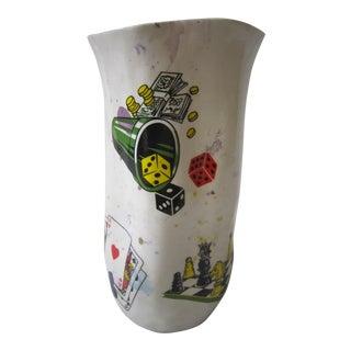Parlor Game Motif Art Pottery Vase For Sale