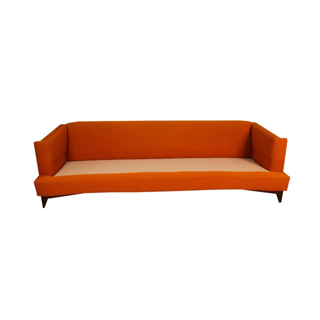 Mid Century Modern Orange Upholstered Curved Sofa For Sale - Image 4 of 12