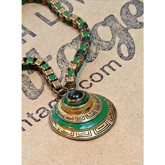 Art Deco 1920s Vintage Art Deco Green & Gold Enamel Necklace Pendant For Sale - Image 3 of 6