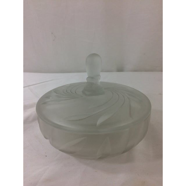 Art Deco Pressed Glass Covered Dish For Sale - Image 3 of 7