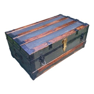 19th Century New Yorker Wood Steamer Trunk For Sale