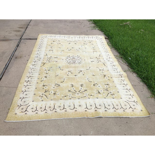 Textile 1980s Yellow Oushak Anatolian Lowpile Distressed Rug - 6′2″ × 9′4″ For Sale - Image 7 of 8