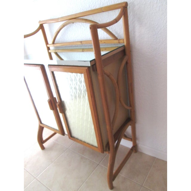 Mid Century Bamboo Mirrored Bar Cabinet - Image 3 of 11