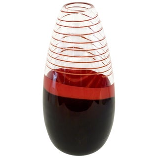 1980s Italian Vintage Carlo Moretti Black Coral Red Crystal Murano Glass Vase For Sale