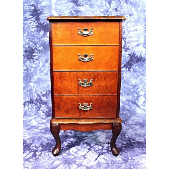 Queen Anne Style Filing Cabinet Nightstand Chest of Drawers For Sale - Image 10 of 10