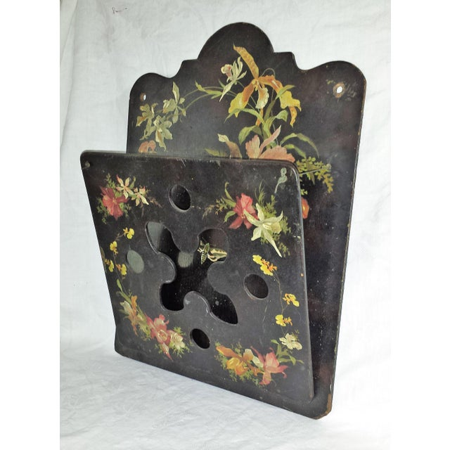 This is a lovely Victorian, most likely English, PAPIER MACHE hanging wall pocket or letter holder. It is black lacquered...