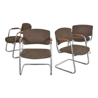 Set 4 Cantilever Armchairs Chrome and Brown W/ Wood Arms Style of Steelcase or Pollock 1970 For Sale