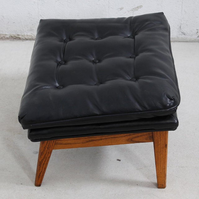 Mid-Century Modern Tufted Lounge Chair With Ottoman - Image 10 of 10