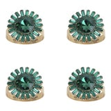 Image of Giant Gem Skinny Napkin Rings, Emerald, Set of Four For Sale