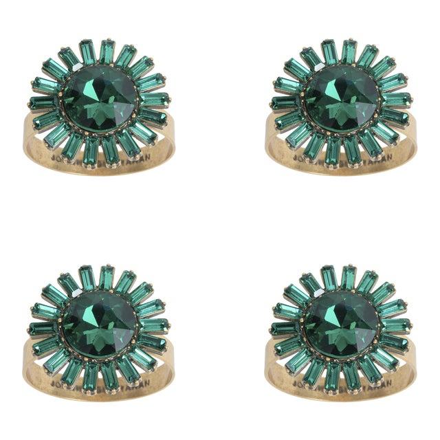 Giant Gem Skinny Napkin Rings, Emerald, Set of Four For Sale
