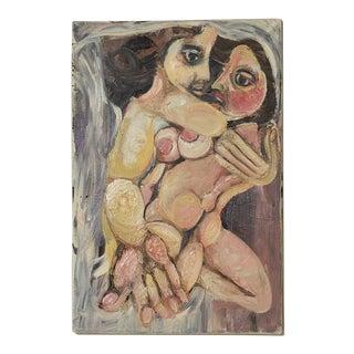 1990s Ugo Di Portanova Art Brut Oil on Canvas Painting For Sale