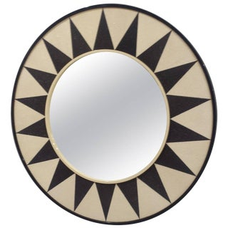Custom Shagreen Mirror with Sunburst Pattern For Sale