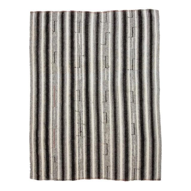 Vintage Black & Gray Striped Kilim Rug- 8′ × 10′2″ For Sale