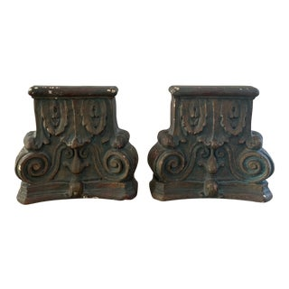 Vintage Neoclassical Column Plaster Bookends- a Pair For Sale