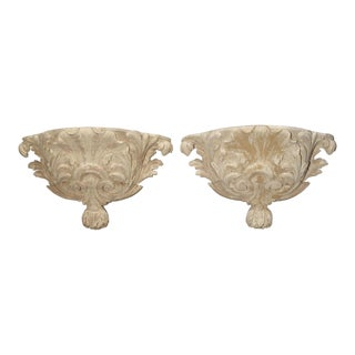 Antique French Whitewashed Wooden Brackets - a Pair For Sale