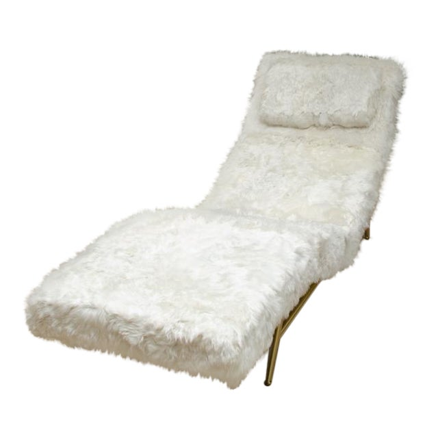Brass Frame Chaise Covered in White Rabbit by Milo Baughman For Sale