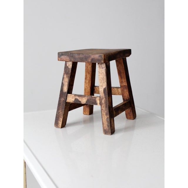Vintage Chinese Wood Stool For Sale - Image 4 of 8