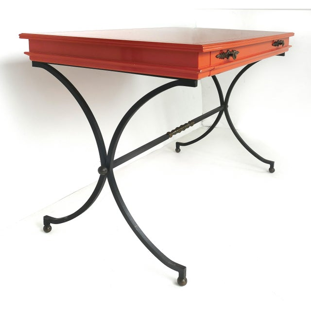 Metal Italian Orange Lacquer Wrought Iron Desk & Chair - 2 Pieces For Sale - Image 7 of 13