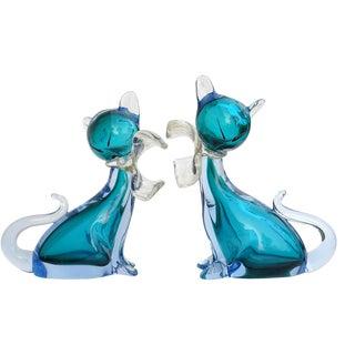 Vintage Alfredo Barbini Murano Sommerso Aqua Blue Italian Art Glass Kitty Cat Figurines - a Pair For Sale