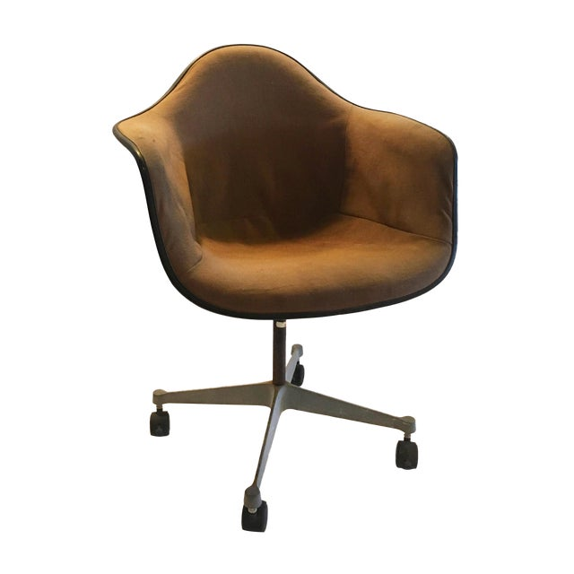 Herman Miller Brown Shell Chair on Wheels - Image 1 of 6