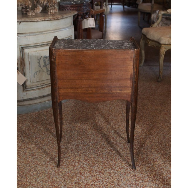 Marble 19th Century French Walnut and Marble Side Table For Sale - Image 7 of 9