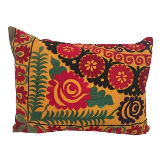 Large Vintage Colorful Suzani Embroidery Throw Pillow For Sale