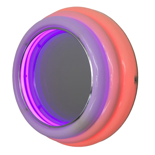 Sottsass Style Round Neon Wall Mirror & Light For Sale