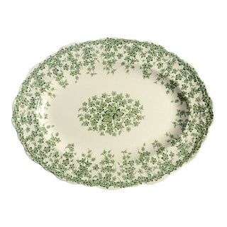 """Crown Ducal Early English Ivy Green 12"""" Oval Serving Platter"""
