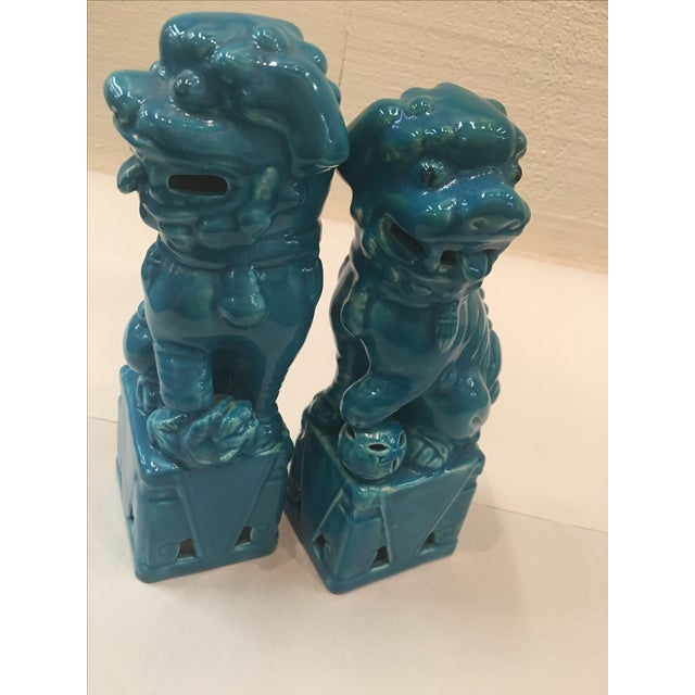 Mismatched Turquoise Foo Dogs - Pair For Sale - Image 5 of 6