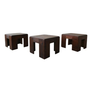 Set of 3 Dark Pine Bunching Tables Stools For Sale