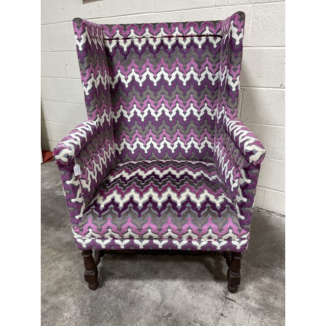 Fantastic laser cut chenille velvet in purple tones and white flame stitch pattern. Great modern mix with traditional...