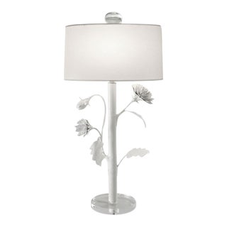 White Floral Table Lamp With Shade For Sale