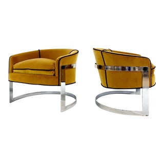 Mid Century Vintage Milo Baughman Velvet With Brazilian Cowhide Welting Lounge Chairs - a Pair For Sale