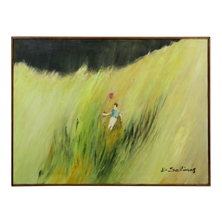 Mid Century Modern Framed Oil Canvas Painting Signed B. Salinas 1960s Balloon For Sale