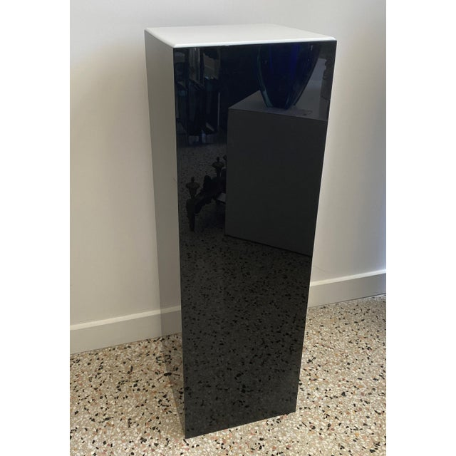 Vintage Pedestal Illuminated Black and White Lucite For Sale - Image 4 of 12