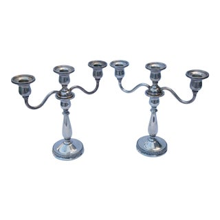 Sterling Silver Weighted Candle Holders by International Silver Company - a Pair For Sale