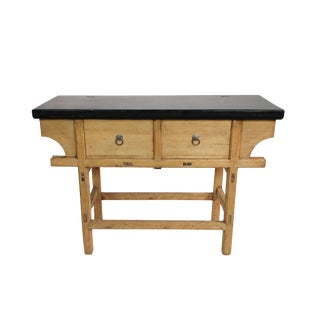 Antique Asian Black Top Gansu Console Table For Sale