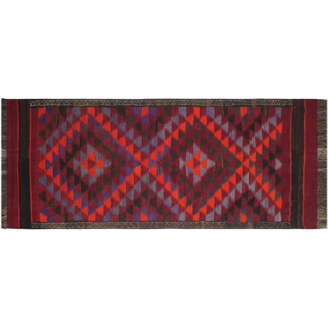 "Antique Turkish Vintage Kilim Jamey Red Orange Hand-Woven Area Rug 3'11"" X 10'4"" For Sale - Image 9 of 10"