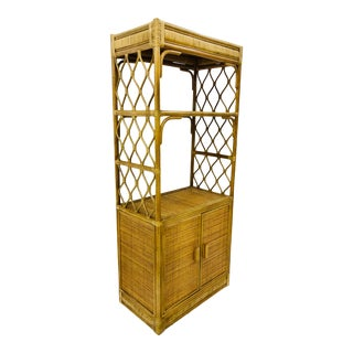 Vintage Bent Rattan & Bamboo Wall Cabinet For Sale