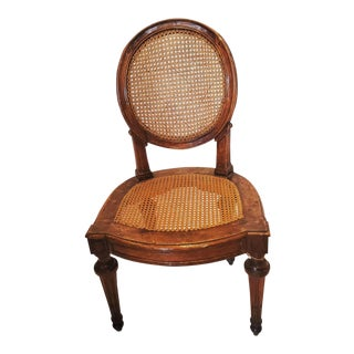 Late 19th Century Antique English Gentelmen Cane Back Chair For Sale