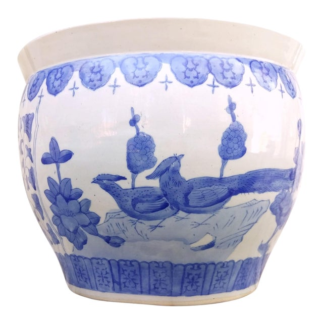 Large Asian Blue & White Pot For Sale