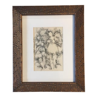 Original Vintage 1962 Pen & Ink Female Nudes Drawing