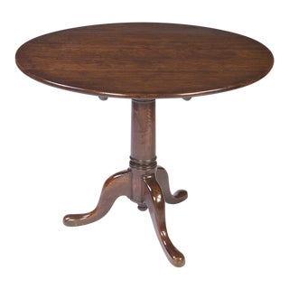 Antique English Oak Tripod Tea Table For Sale